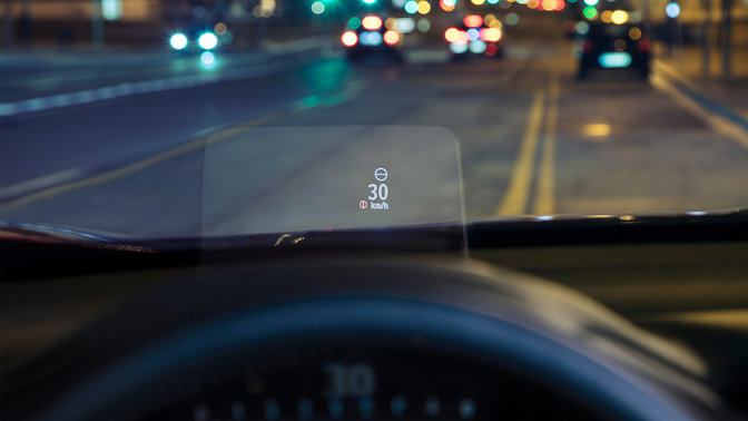 Nahaufnahme des Head-up-Display des Honda CR-V.