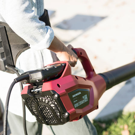 Close up of Honda cordless hedge trimmer.