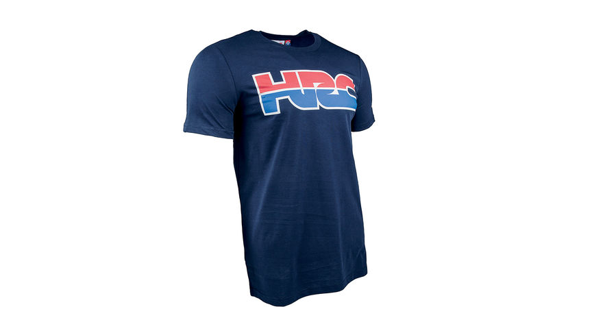 Blaues HRC Racing T-Shirt mit Honda Racing Corporation Logo.