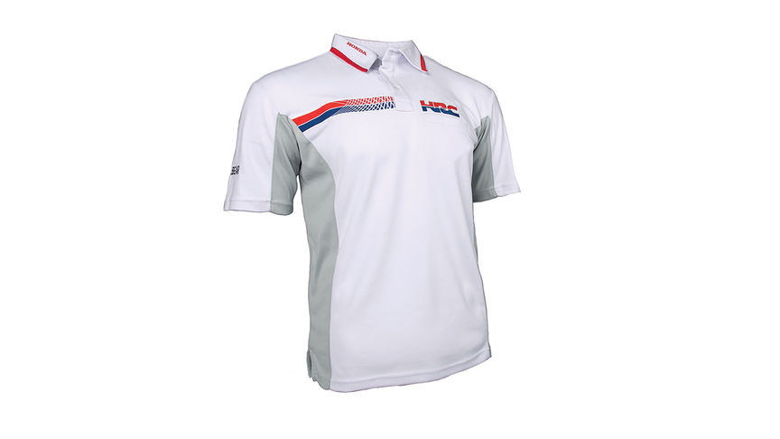 Weißes HRC Racing Polo-Shirt – mit Honda Racing Corporation Logo.