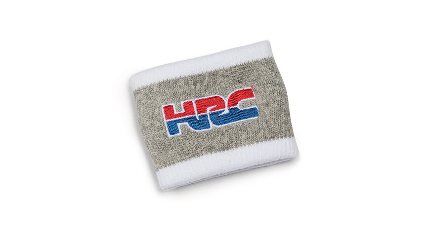 Graues Honda HRC Armband in HRC-Farben mit Honda Racing Corporation Logo.