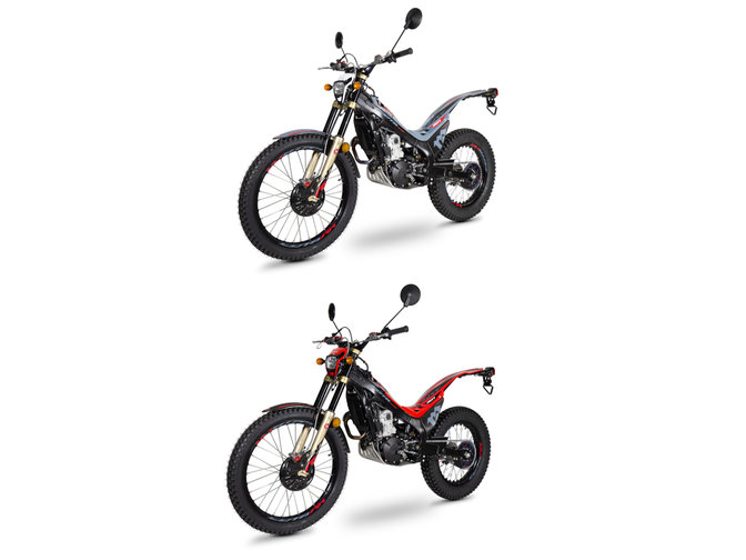 Honda Montesa Cota 301RR in Fighting Red und Sonic Grey, 3/4-Frontansicht von links